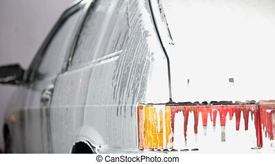 car in suds