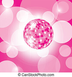 disco ball - pink disco ball, pink background, EPS10