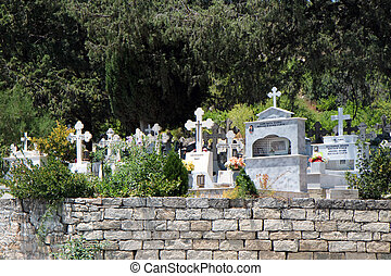 View of a cemetary in a Cypriot village