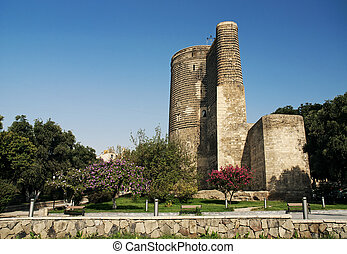 maidens tower in baku azerbaijan - maidens tower landmark in...