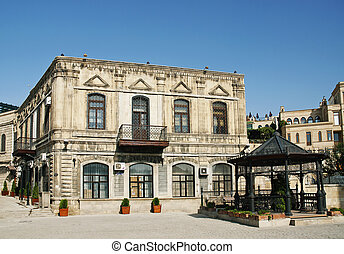 baku old town in azerbaijan - baku old town square in...