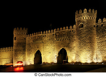 old town gate in baku azerbaijan by night