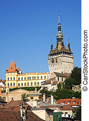 rooftops of sighisoara in romania - rooftops of sighisoara...