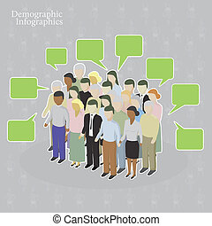 Demographic infographics Crowd with speech bubbles