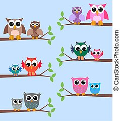 owls - lot of owls sitting on branches