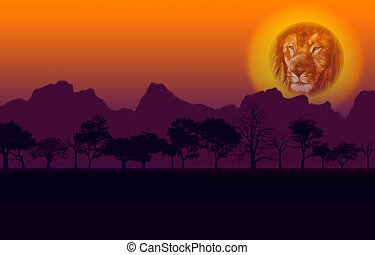 African Sunset Lion and Mountain - Colorful African Nature...