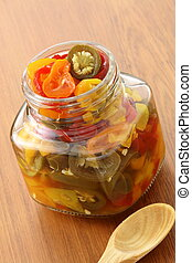 pickled hot peppers - delicious sliced pickled hot...