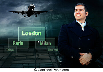 Businessman and airports citys on the button and plane