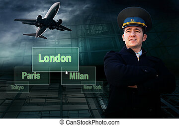 Pilot and airports cities on the button and plane - Pilot...