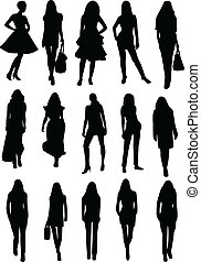 Collection of models silhouettes - vector