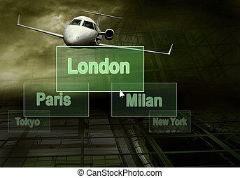 Airports citys on the button and plane
