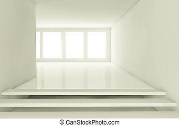 Empty room - 3d render of a empty abstract room with windows