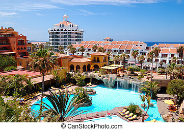 Building and recreation area of luxury hotel, Tenerife island, Spain