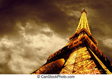 PARIS - JUNE 22 : Illuminated Eiffel tower at night sky June...