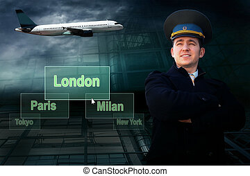Pilot and airports citys on the button and plane