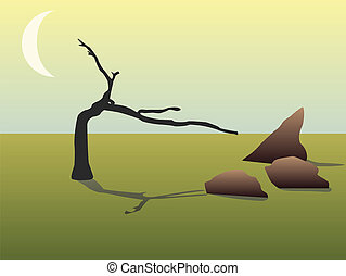 dead tree, brown rocks and moon