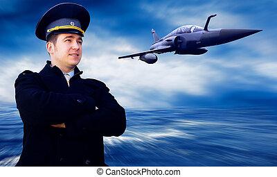 piloto, militar, avión, velocidad
