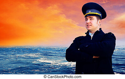 Captain on the sea with ship