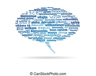 discurso, burbuja, -, bienvenida, diferente, idiomas