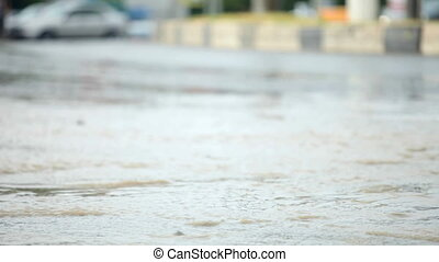 Flood Driving - After a hard rain, people are driving their...