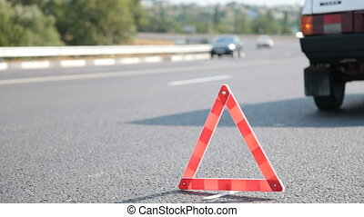 Red Warning Triangle - Red warning triangle with a broken...