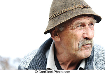 Closeup Artistic Photo of Aged Man With  Grey Mustache
