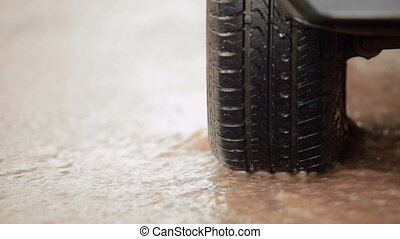 car tire in a stream of of rainwate