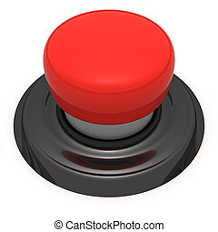 Big red button - Red push button isolated on the white...