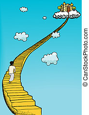 Stairway To Heaven - Person in gown climbs golden staircase...