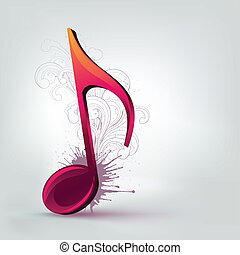 Music Note - Music Purple Note Background with Swirl. Vector