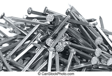 Nails on white background - alot of Isolated nails on a...