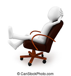3d man relaxing in a puzzle chair - 3d man relaxing in a...