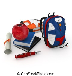 3d student books, pen, backpacks and red apple at school