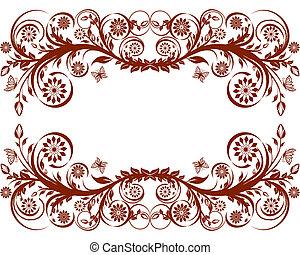 vector illustration of a floral fra