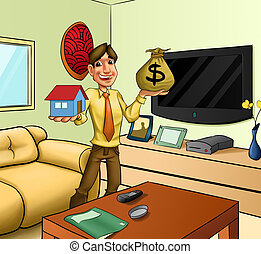 leaving room - man with a house and a money?s sack in his...