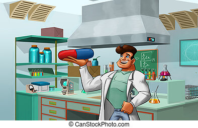 laboratory and medic - scientist with a big pill in his hand...