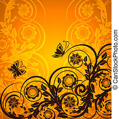 orange floral ornament with butter - vector illustration of...
