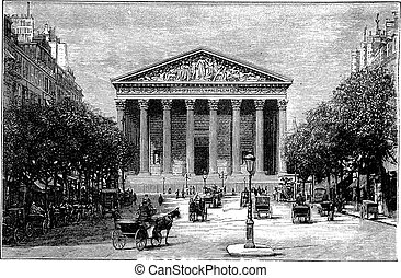 Madeleine Church and Rue Royale in Paris France vintage engraving