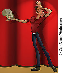 actor playing hamlet - a thin actor with a skull playing...