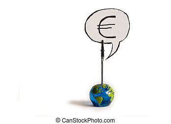 Currency Symbol - euro Currency Symbol on a globe on a white...