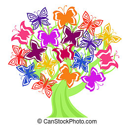 Vector illustration of a tree with butterflies