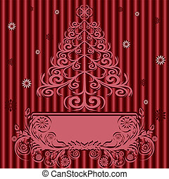 vector illustration of a Christmas tree with ornament on silk background.