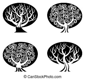 vector illustration of a set of black and white trees  isolated on white background