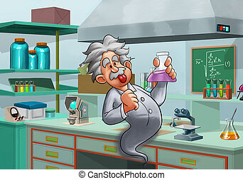 lab with a mad scientist