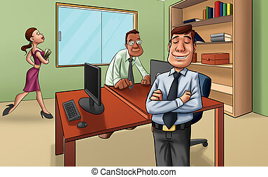 the boss - manager in a room with some workers