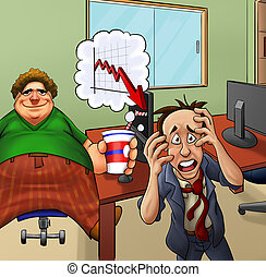 crazy office - very upset manger and his fat lazy employer