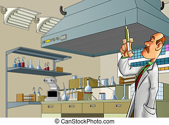 medic in the lab - medic with a big needle in the lab room
