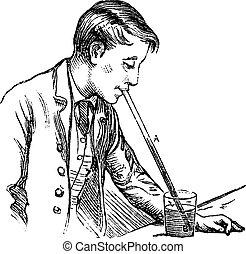 Atmospheric pressure on a liquid vintage engraving -...