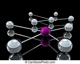3d chrome purple network