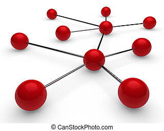 3d red chrome network